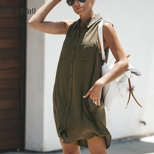MayHall Women Long Shirt Dress with Pockets Sleeveless Casual Loose Summer Button Office Ladyvestidos verano 2018 MH187