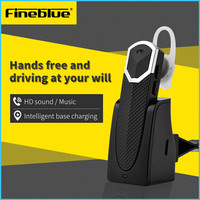 새로운 Fineblue FT-9 블루투스 헤드셋 이어폰 헤드셋 블루투스 자동차 스피커폰 A2DP 충전 독 iOS 안드로이드 전화