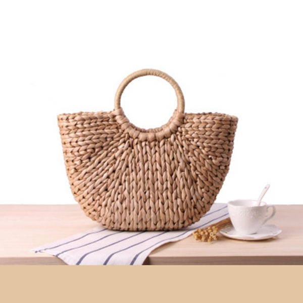 Fashion Womens Hand Bag Large Shoulder Tote Bag Bucket Summer Bags Women Tassel Rattan Bag Braided(primary color)