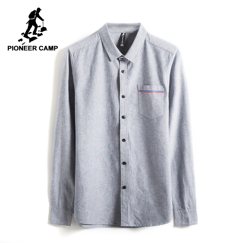 Pioneer Camp New Spring long sleeve casual shirt men brand-clothing social male shirt top quality cotton dress shirt ACC705068