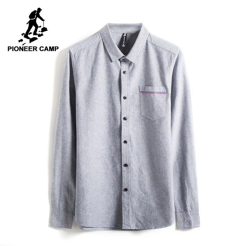 Pioneer Camp Nouveau Printemps à manches longues chemise décontractée hommes marque-vêtements sociale mâle chemise top qualité coton robe chemise ACC705068