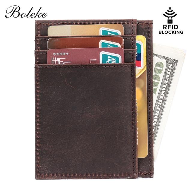 922472c813d58b Men Ultra Slim Wallet RFID Blocking Handmade Small Money Clip Crazy Horse Genuine  Leather Purse Minimalist