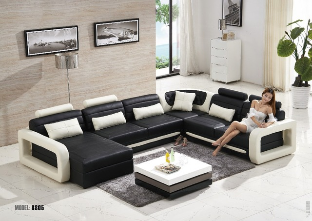 Modern Living Room Leather Sofa Furniture Leather Sofa L