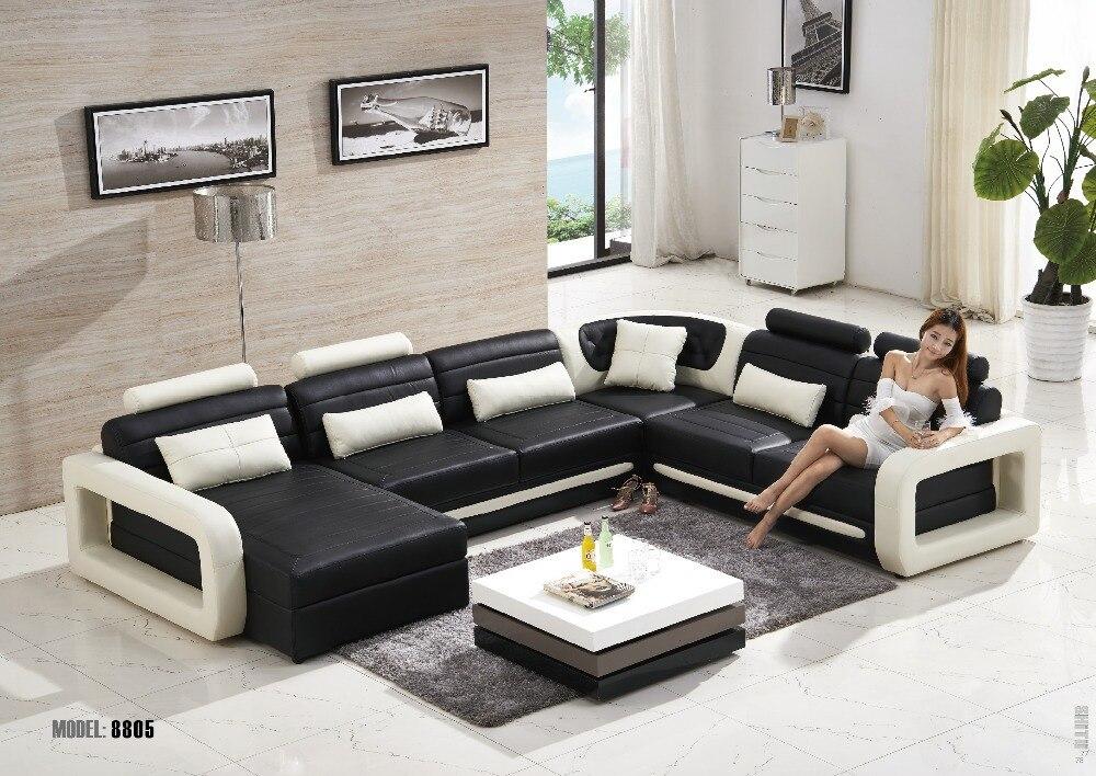 Moderna Sala De Estar Sof 225 De Cuero Muebles En Forma De L