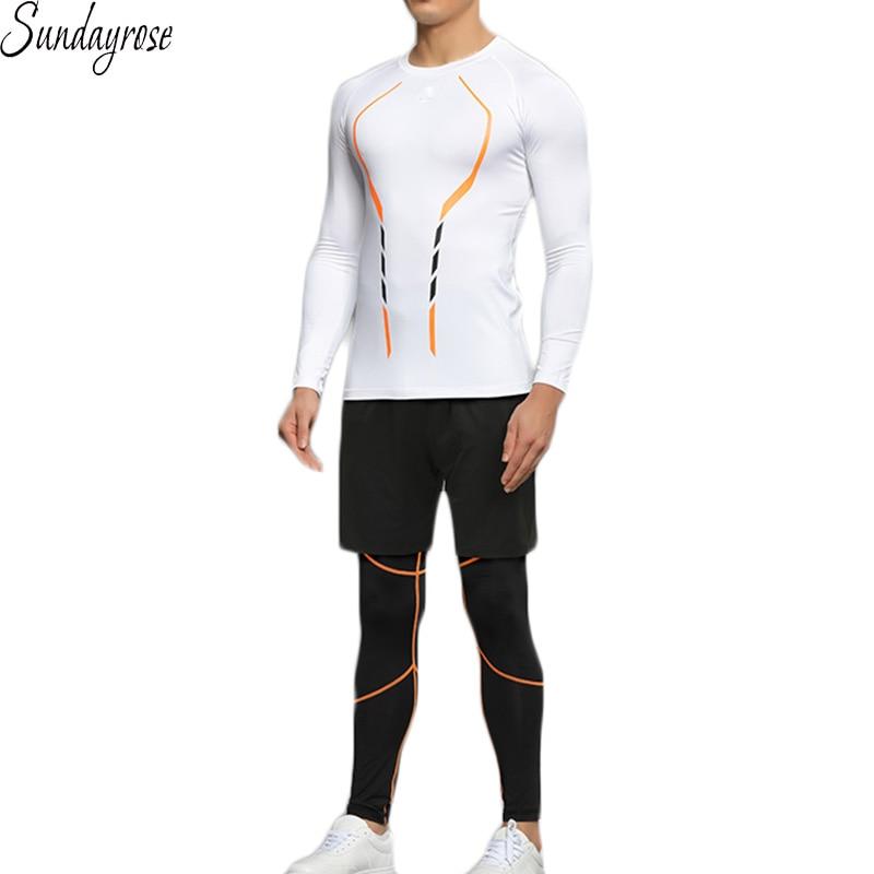 ФОТО 3 Pcs Brand Sport Suit Men's Compression T-Shirt+Shorts+Leggings Training Sportswear Tracksuit Elastic Gym Fitness Running Sets