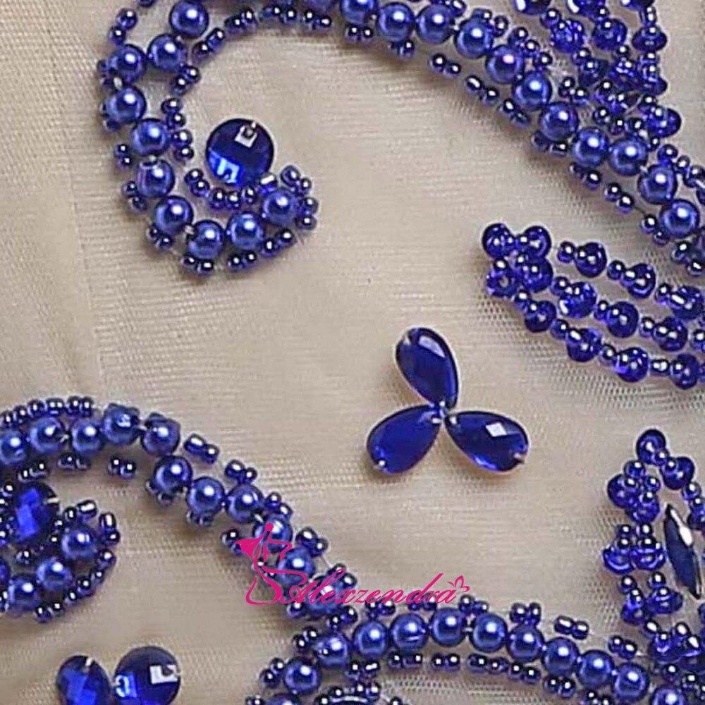 Alexzendra bleu Royal perlé une ligne robes de bal encolure dégagée en mousseline de soie longues robes de soirée robe de soirée - 6
