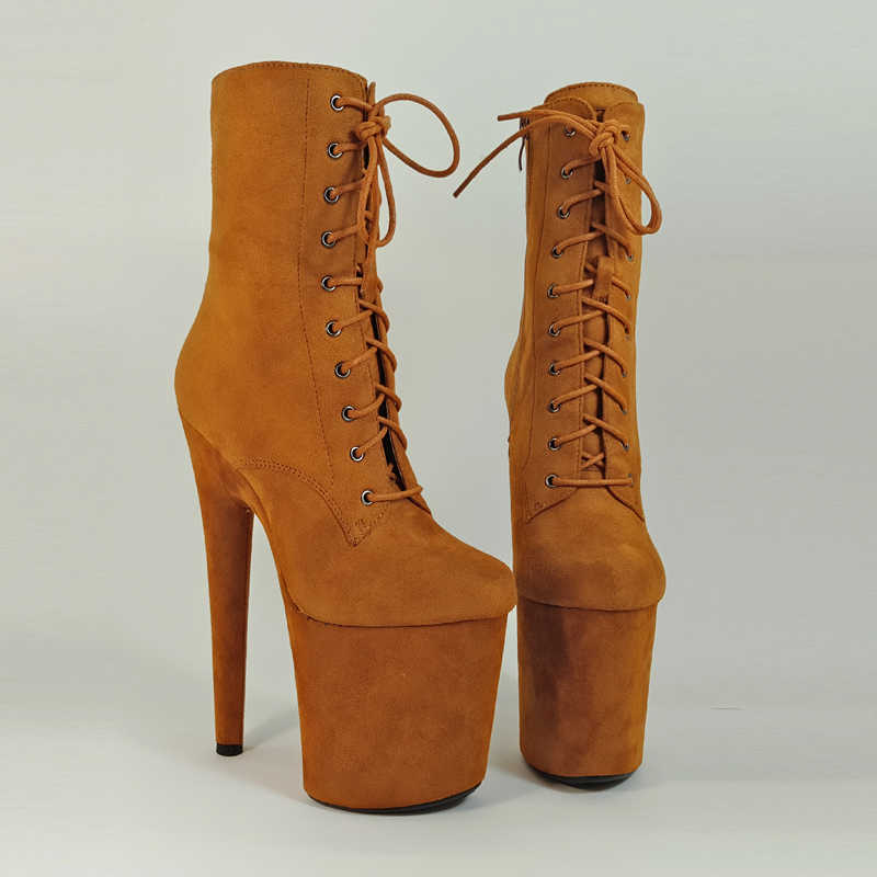 ... Leecabe 20CM Pole dancing Ankle shoes High Heel platform Boots Vegan  with suede materials cover heels ... eba6fafee166