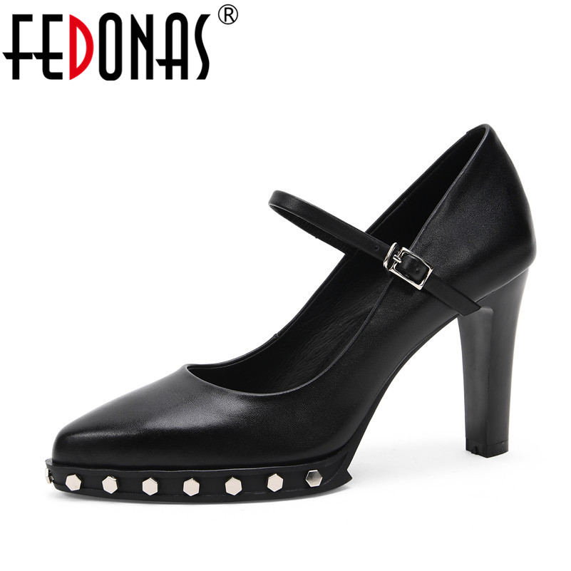 FEDONAS 2018 Gladiator Women Pumps Ladies Sexy Buckle Strap Roman High Heels Party Wedding Shoes Woman Genuine Leather Pumps egonery buckle strap faux leather thick high heels fashion style ladies party shoes women s shoe plus size woman pumps