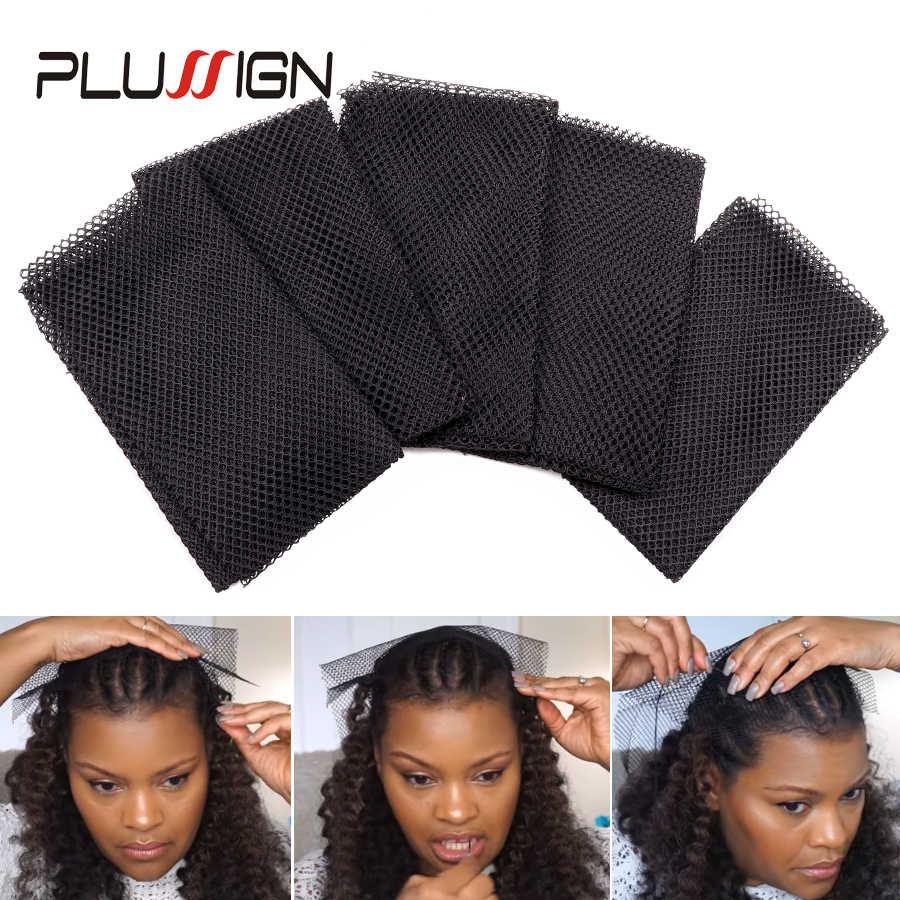 Generous Size Breathable Fabric Hair Weaving Net Big Hole Free Style Polyester Black Net