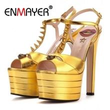 ENMAYER Hot sale Women Sandals Platform shoes Summer Open toe Spike heels Super High sandals Rivets Fashion European CR33