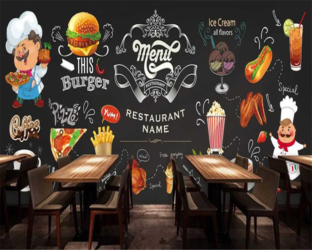 Beibehang Aanpassen elke grootte wallpaper HD handgeschilderde Westerse Restaurant Burger Pizza Winkel Achtergrond behang voor muren 3 d