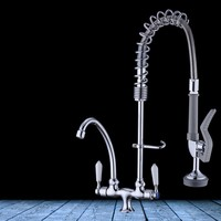 Deck Mounted solid brass kitchen faucet high pressure Sink faucet Pull down 360 degree rotation tap Single cold water faucet