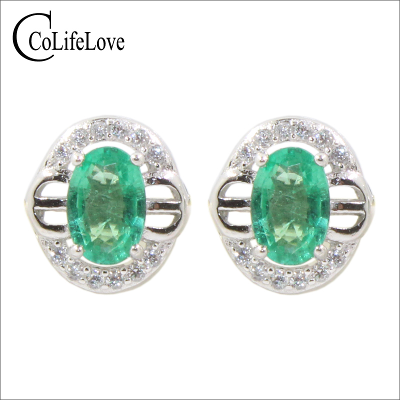 Classic sivler emerald earrings 2 pcs 4 mm 6 mm natural I grade emerald stud earrings