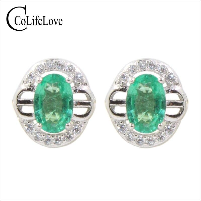 Classic sivler emerald earrings 2 pcs 4 mm * 6 mm natural I grade emerald stud earrings solid 925 silver emerald earrings