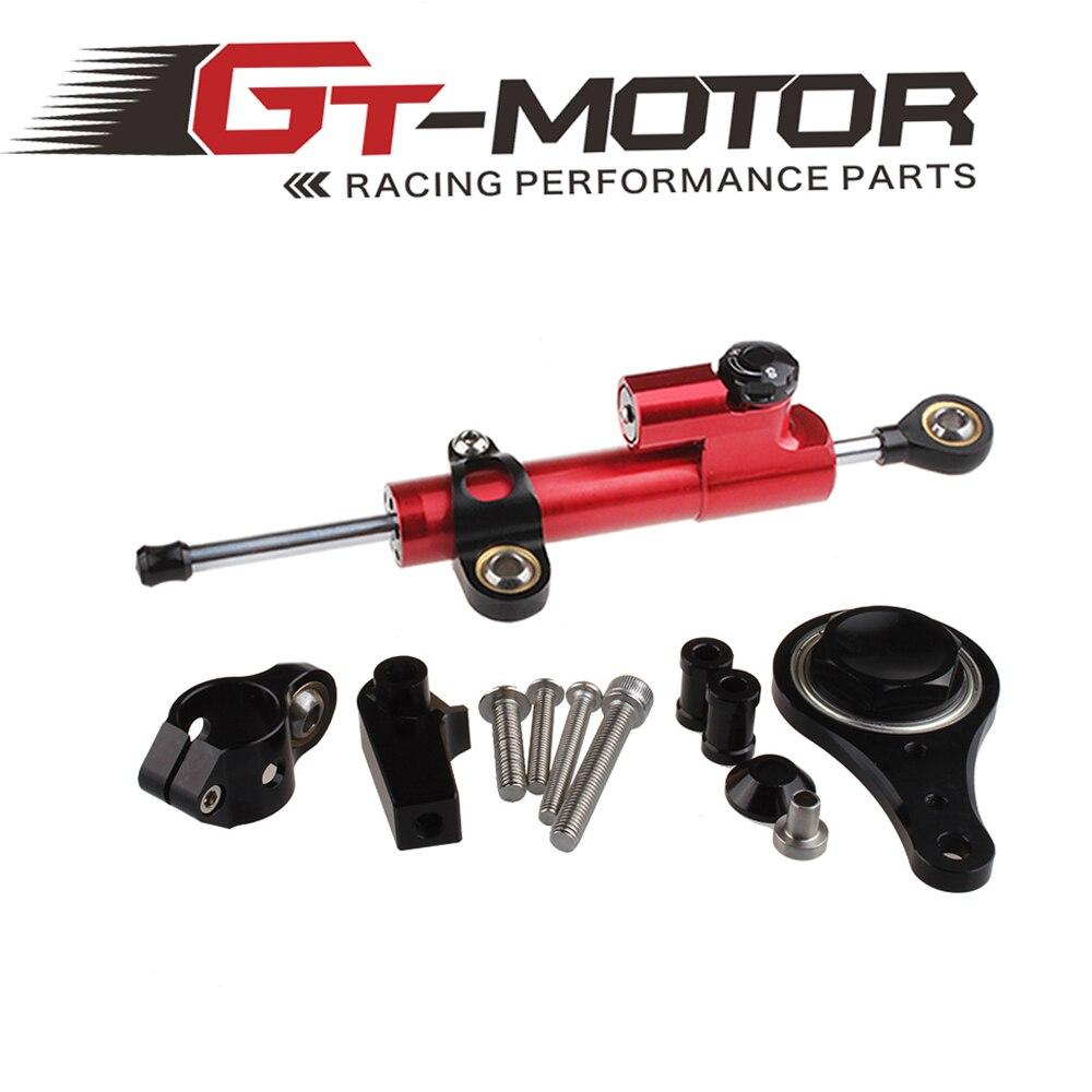 GT Motor - CNC Steering Damper complete Set for KAWASAKI ZX6R 636 2005 06  w/ bracket kits cnc steering damper complete set for kawasaki zx6r 636 2007 2008 w bracket kits