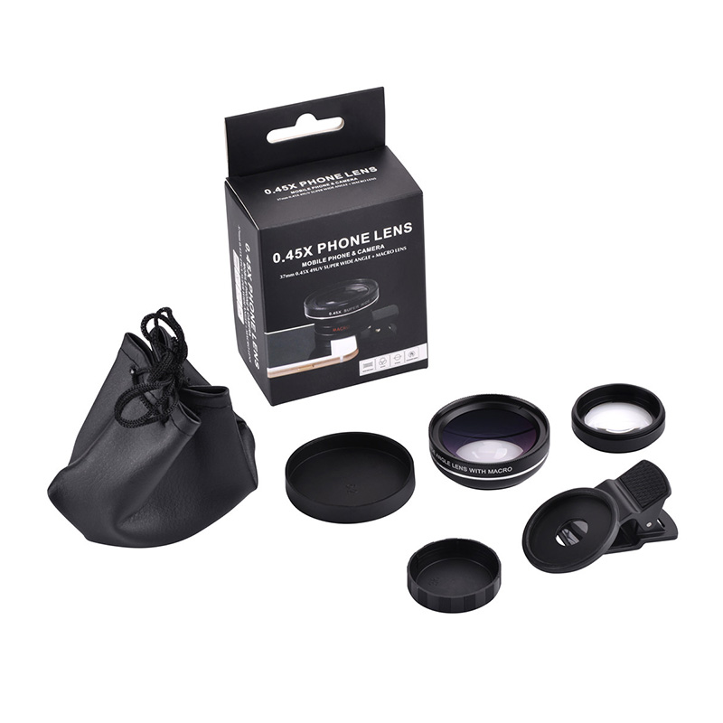 37mm 0.45X Super Wide Angle Lens 12.5X Macro Lens Clip For iPhone Xiaomi Samsung Cell Phone Lens 2 in 1 Camera Lens Kit 12
