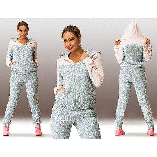 Plus Size 4XL 2017 New Fashion Causal Clothing 2 Piece Set Women Hoodies Sweatshirt Sporting Suits