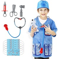 Bobasatop 12Pcs Veterinarian Costume Kids Role Play Costume Veterinarian Fancy Dress Accessories Set for Kids
