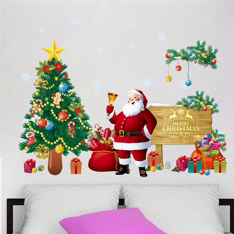 Christmas tree snowflake decoration santa claus wall for Christmas wall mural plastic