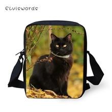 ELVISWORDS Fashion Women Messenger Bags Cute Animal Pattern Womens Shoulder Cross Body Casual Black Cats Travel Mini Purse