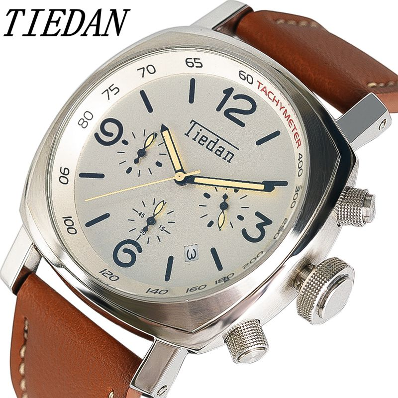 TIEDAN Classic Men's Watches Genuine Leather Band Casual Analog Male Modern Quartz Date Display Big Watch Business Wrist Watch classic brown genuine leather band men women day date display dial analog quartz wrist watch casual wristwatch relogio feminino