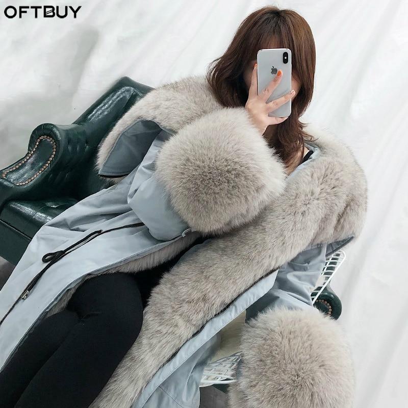 OFTBUY Oversized Fur Collar Duck Down Coat Real Fur Coat Winter Jacket Women Parka Natural Raccoon Fox Fur Detachable Loose 2019