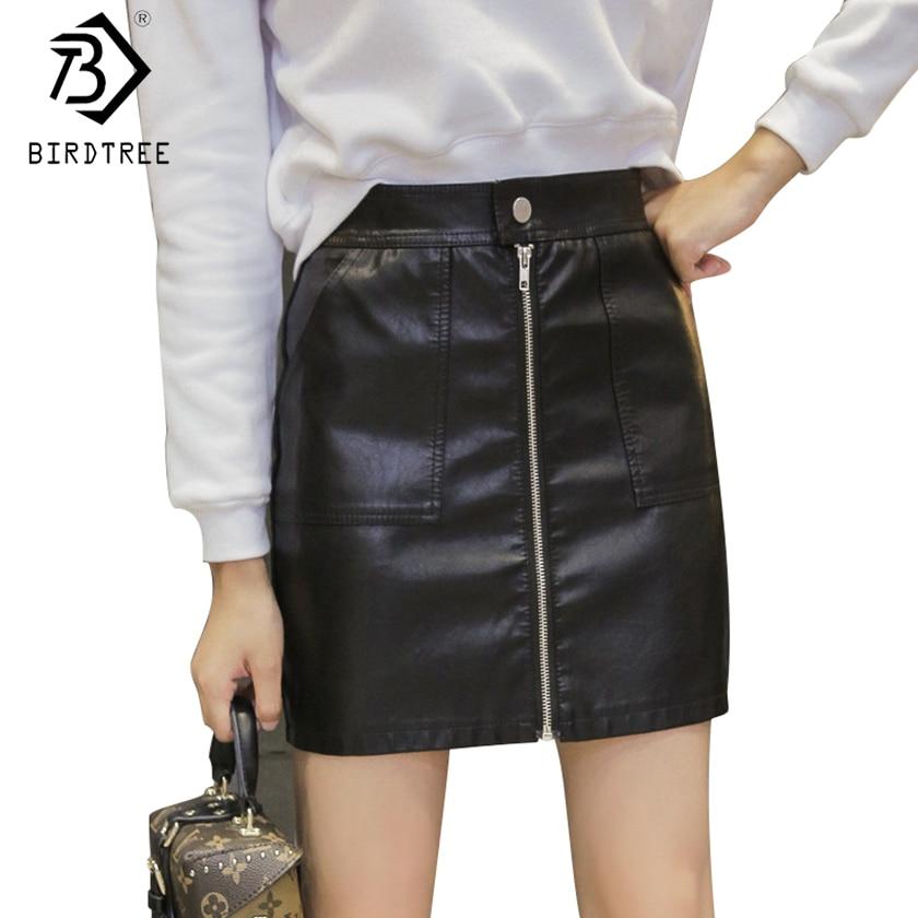 High Street Для женщин карандаш кожаная юбка 2017 плюс Размеры Sexy Stretch Высокая Талия Bodycon Твердые мини-юбка saias b7n828z