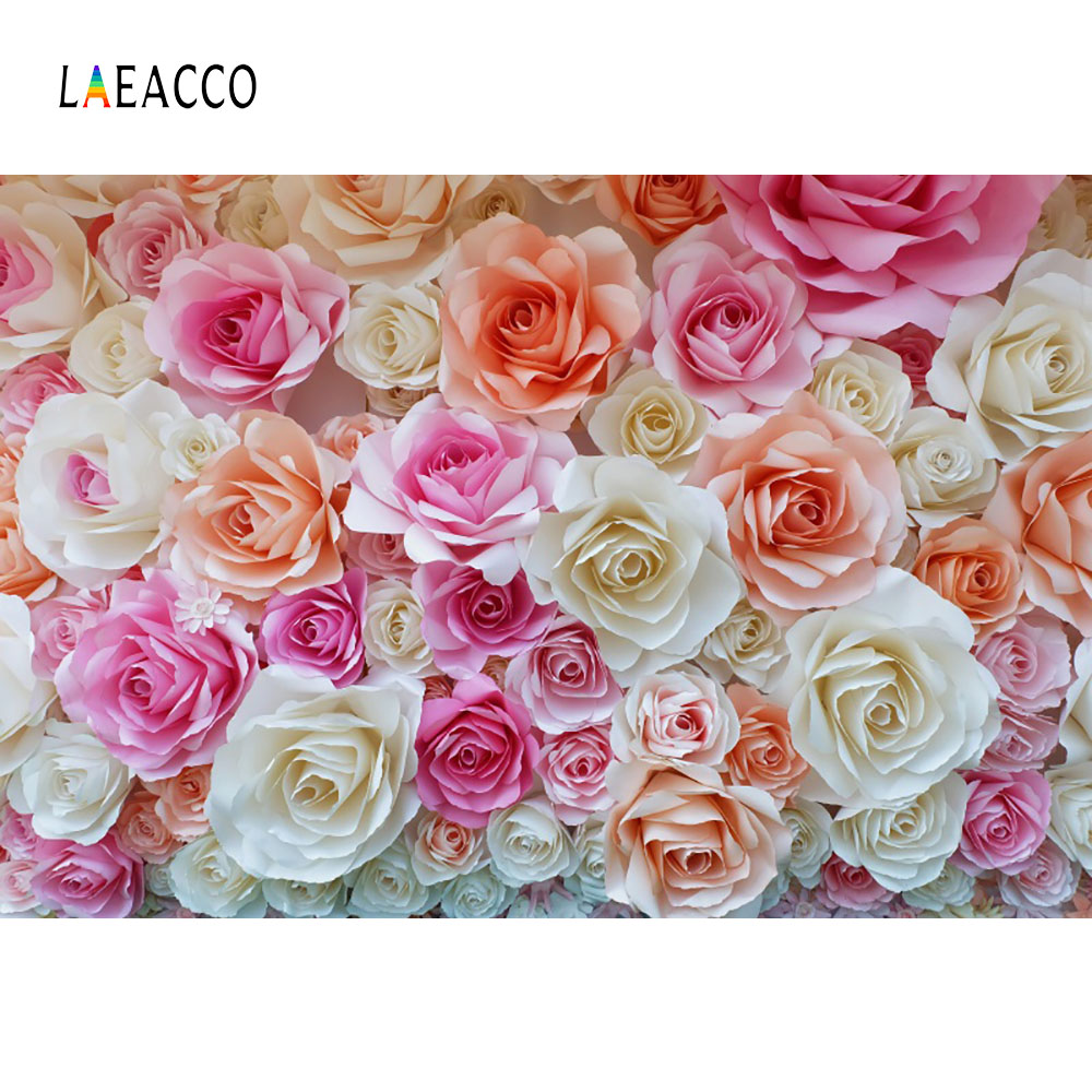 Laeacco Blossom Flowers Wall Bridal Baby Children Photography Backgrounds Customized Photographic Backdrops For Photo Studio laeacco ancient stone wall flooring portrait grunge photography backgrounds customized photographic backdrops for photo studio