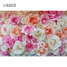 Laeacco Colorful Paper Flowers Decor Photography Backdrops Vinyl Customs Backgrounds Props For Photo Studio Shoots