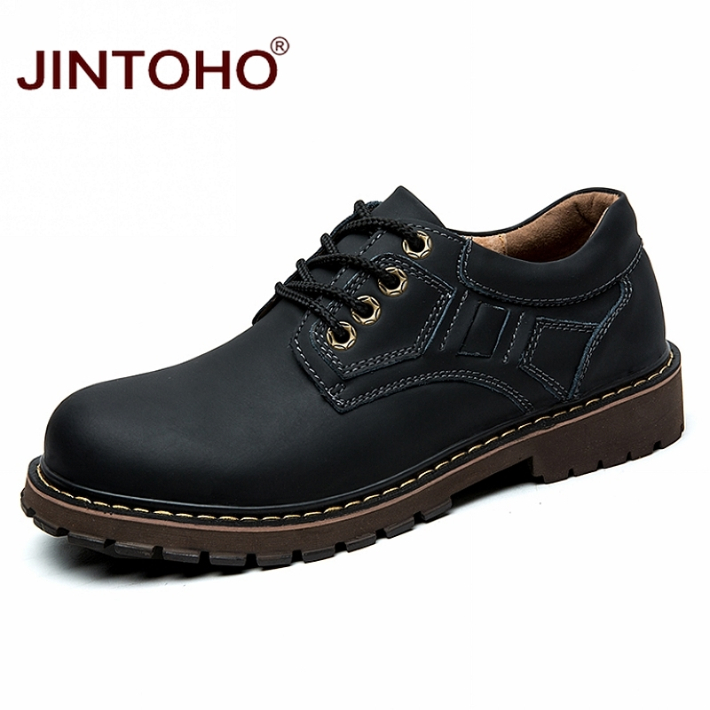 JINTOHO Brand Genuine Leather Men Shoes Winter Work & Safety Shoes Fashion Casual Designer Male Shoes Leather Moccasins