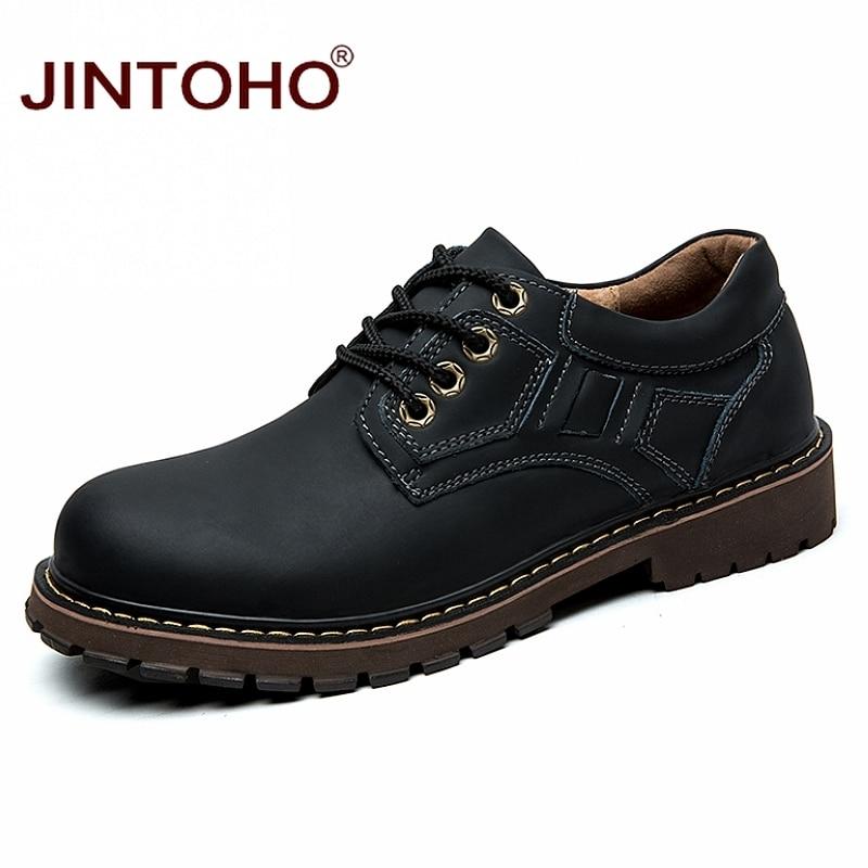 US $32.99 40% OFF|JINTOHO Luxus Marke Echtem Leder Männer Schuhe Winter Arbeit & Sicherheit Schuhe Mode Lässig Designer Männlichen Schuhe Leder