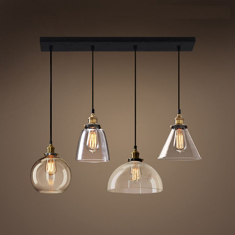 LukLoy Retro Glass Pendant Lights LED Kitchen Lights LED Lamp Hanging Lamp Ceiling Lamps Living Room Lighting Fixtures