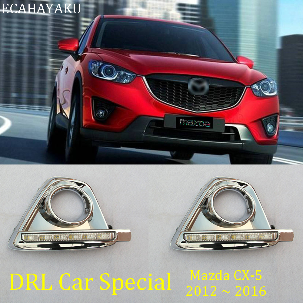 ECAHAYAKU 1 pair LED DRL Daytime Running <font><b>Light</b></font> For <font><b>Mazda</b></font> CX-5 <font><b>CX5</b></font> CX 5 2012 2013 2014 2015 2016 with turn signal <font><b>Fog</b></font> <font><b>light</b></font> <font><b>cover</b></font> image