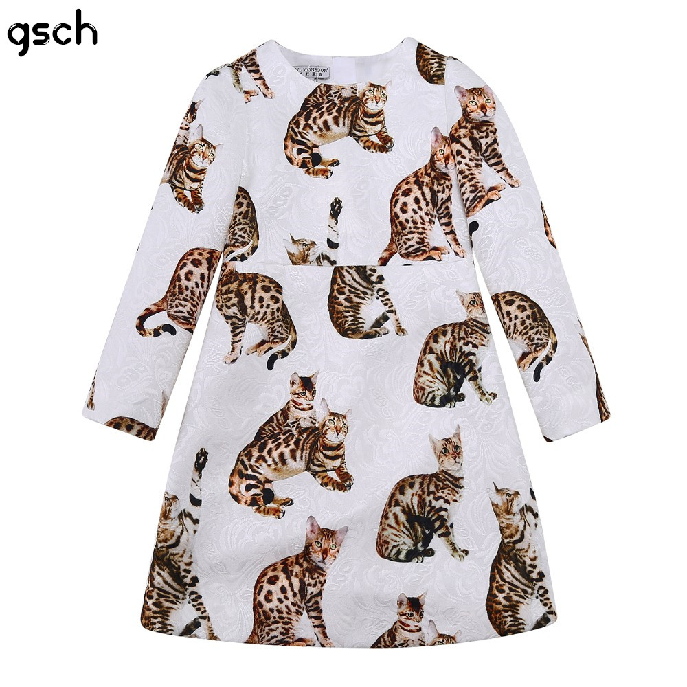 ФОТО gsch girls dress kids christmas clothes 2016 long sleeve bengal cat toddler princess girl dresses winter brocade child clothing