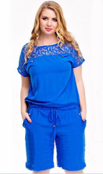 2019 Women Summer Lace Playsuits Casual Plus size 4XL Short Jumpsuits Rompers 5XL Large size Ladies Playsuits Overalls Clothing 4