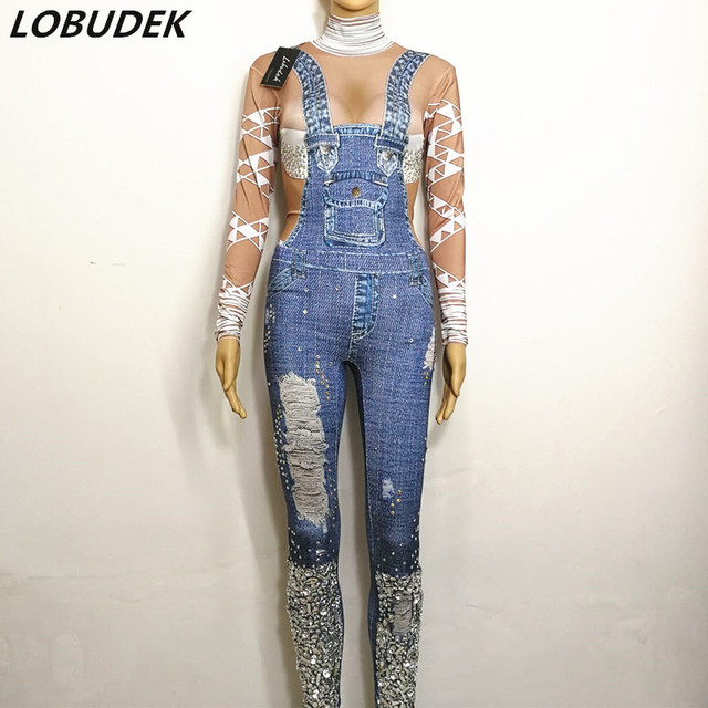 Bright Stones Jeans Bar Jumpsuit singer dancer Stage dancer crystals female costumes DJ DS performance clothing party star