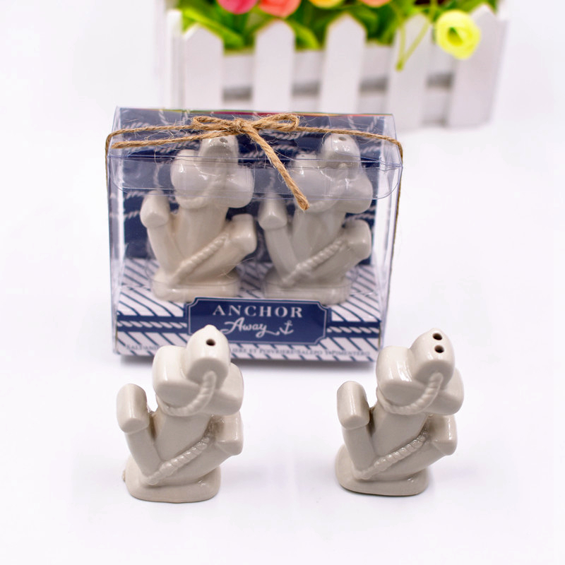 Livraison rapide en usine livraison gratuite 100 pcs/lot faveur de mariage porcelaine blanc océan ancre salière et poivrière (1 ensemble = 2 pièces)