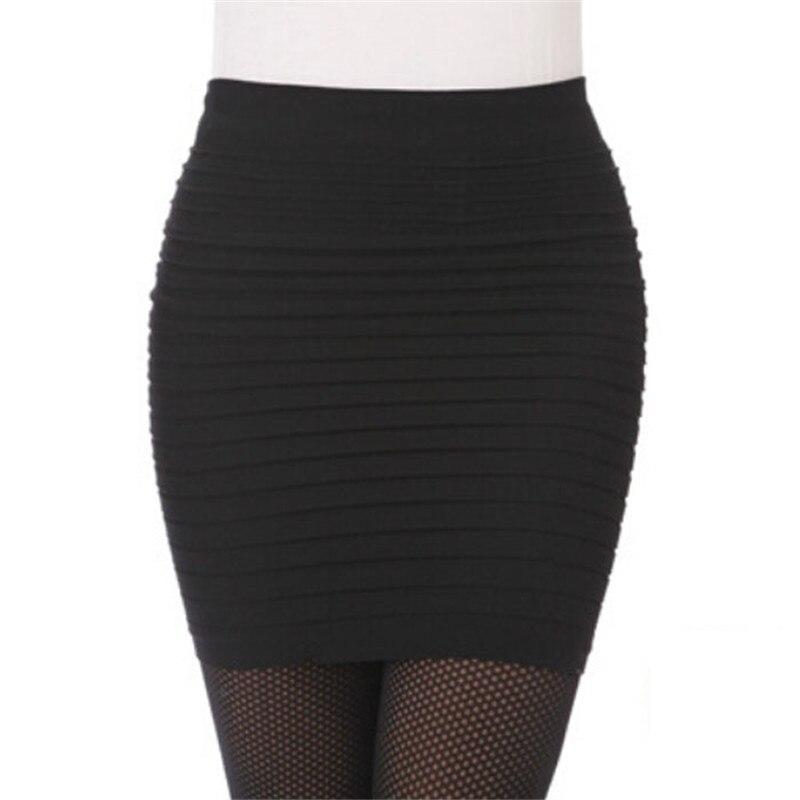 NOUVELLE Mode 2018 Femmes 1 PC Mode Femmes Élastique Plissée Haute taille Paquet Hanche Courte Jupe Office Lady Casual Formelle Jupe A20