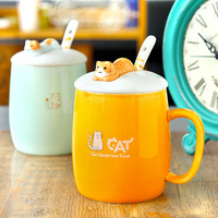 Popular Cartoon Cat Pattern Coffee Mug New Ceramic Coffee Cup Children Girl Boy Cute Lovely Creative Cat Breakfast Milk Mug Gift