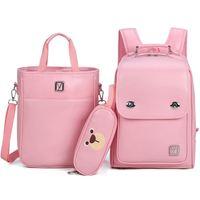 3 sets children school bags for boys girls PU schoolbag backpack waterproof satchel kids book bag mochila with child handbag