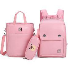 3 sets children school bags for boys girls PU schoolbag back