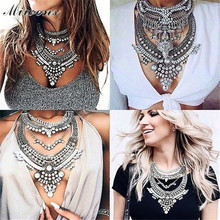 Miwens 2017 Collar za Necklaces & Pendants Vintage Crystal Maxi Choker Statement Silver Collier Necklace Boho Women Jewelry 7001