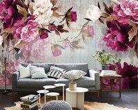 Beibehang 3D Wallpapers Living Room Bedroom Mural Painting Hand Peony Wooden TV Background Mural Photo Wallpaper