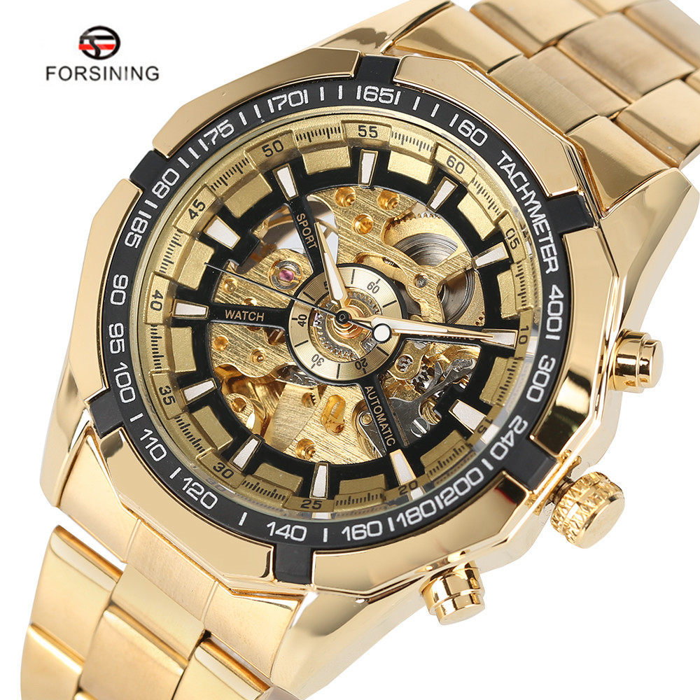 Luxury Brand FORSINING Antique Skeleton Mechanical Watches Men Stainless Steel Golden Band Wristwatch Relogio Masculino W18050