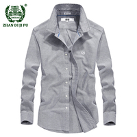 2018 Spring men's casual brand 100% pure cotton gray shirt autumn business man afs jeep blue long sleeve shirts male clothing