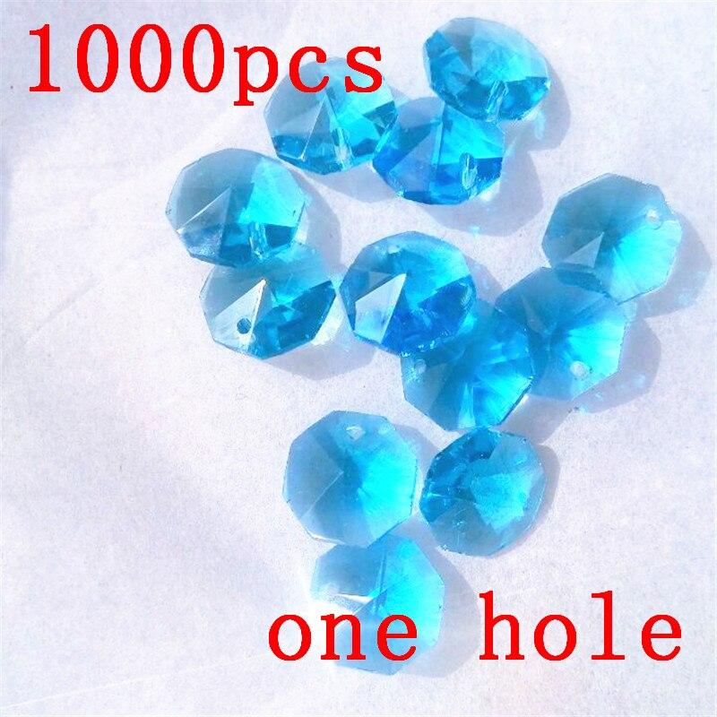 1000pcs 14mm Aquamarine Glass Crystal Garlands Crystal Octagon Beads Wedding Table Centerpieces And Manzanita Tree Decoration