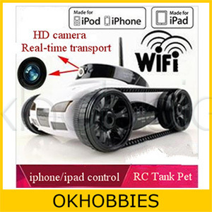 EMS/DHL Shipping! i-Spy Wireless iPhone Rover Remote Control Tank iSpy Video Camera WiFi APP-Controlled by New iPad/iTouch/iPod