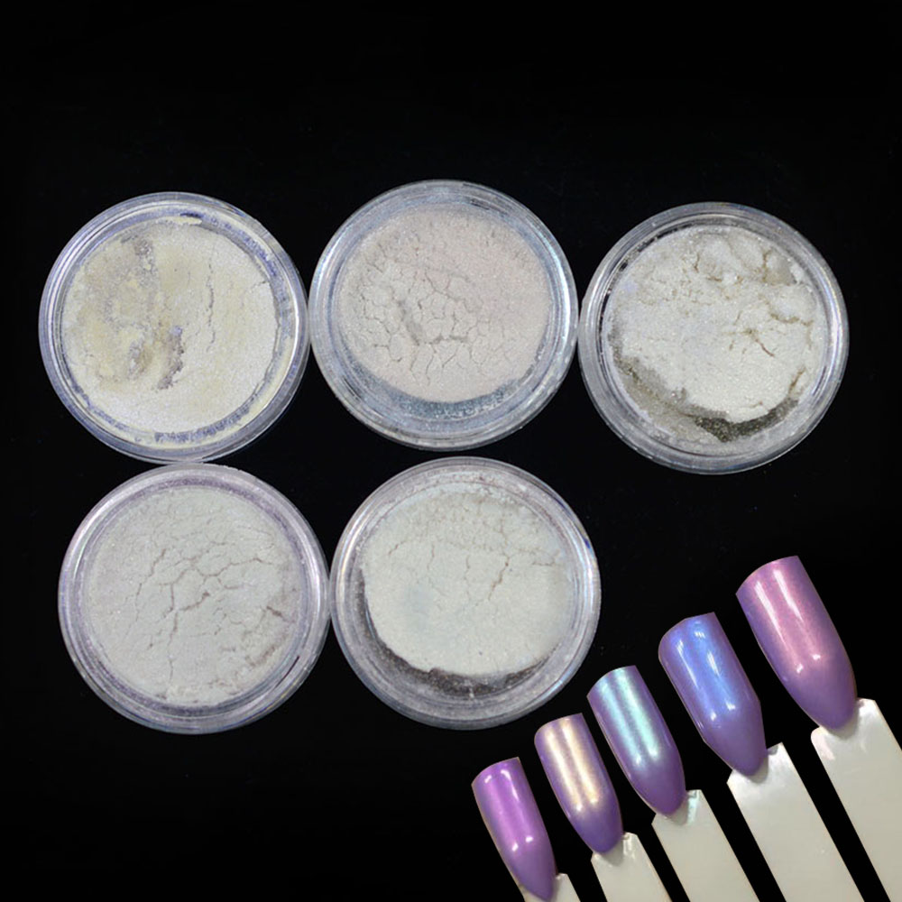 1Bottle Mermaid Nail Powder 1pcs Brushes Nail Art Powder Laser Nail Glitter Dust Magic Glimmer Nail
