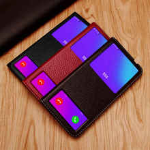 Genuine Leather Case For Huawei P30 Lite Case Cover Magnetic Etui Coque For Huawei P30Lite Flip Case Fundas Window View Capa
