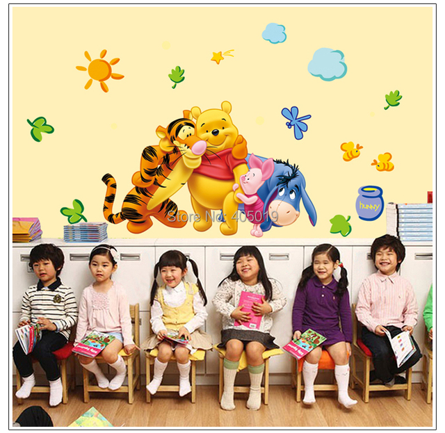 """48""""x28"""" (120x70cm) AY7034 Bear Wall Stickers for Kids Rooms Adesivo de Parede Home Decoration Big Size Resell SGS Removable PVC"""